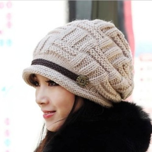 Women Knit Snow Hat Winter Snowboarding Beanie Crochet Cap (Beige)
