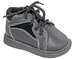 Genuine Leather Infant Toddlers Boys Luna Genuine Leather Lace Up Dress Boots Black (Infant/Toddler)