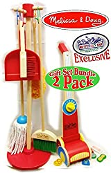Melissa & Doug Wooden Lets Play House Dust, Sweep, Mop & Vacuum Up Cleaning Playsets Exclusive Mattys Toy Stop Deluxe Gift Set Bundle 2 Pack