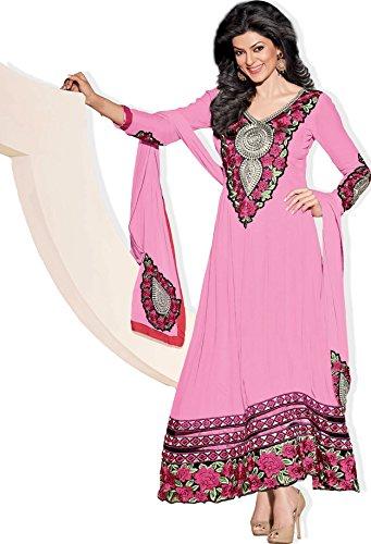 Atisundar Atisundar Superb Blended Georgette Embroidered Anarkali In Pink- 4419_32_11003 (Multicolor)