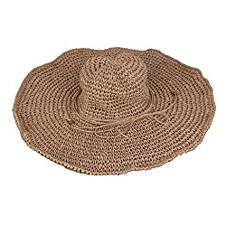 Imported Women Large Straw Wide Brim Derby Floppy Beach Cap Vacation Hat Khaki