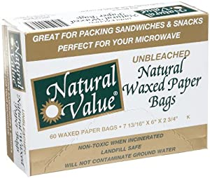 Natural Value Waxed Paper Bags -- 60 Bags