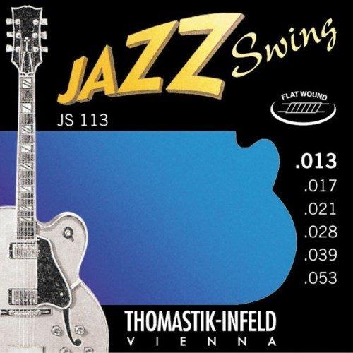 Thomastik-Infeld Js113 Jazz Guitar Strings: Jazz Swing Series 6 String Set - Pure Nickel Flat Wounds E, B, G, D, A, E Set