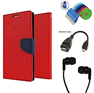 Bcbgmaxazria Wallet Flip Case Back Cover For Xiaomi Mi Note 4G - Red With Champ Earphone(3.5Mm Jack) + Micro Usb Otg Cable + Usb Smiley Cable Combo Set