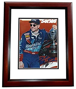 Mark Martin Autographed Hand Signed Racing 8x10 Photo MAHOGANY CUSTOM FRAME by Real Deal Memorabilia