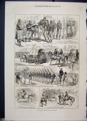 1876 War Alexinatz Turkish Spies Horses Soldiers Print
