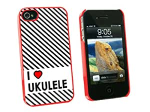 Graphics and More I Love Heart Ukulele - Snap On Hard Protective Case for Apple iPhone 4 4S - Red - Carrying Case - Non-Retail Packaging - Red