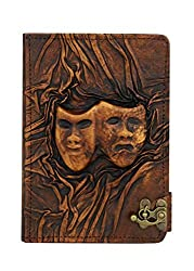 Embossed Happy Sad Drama Mask iPad Mini 4 Case Cover Flip Stand Vintage Real Genuine Leather Hardcover Wallet Pouch iPad Mini 4 Cases Covers with Lock Brown Suitable for Apple iPad Mini 4