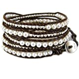 Chan Luu Pearl Combo White and Silver Brown Leather Wrap Bracelet BS-2350