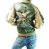 (フリースタイル)Freestyle 鷹 イーグル 和柄 刺繍 メンズ サテン スカジャン 83612 グリーン×ゴールド L