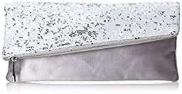 BCBG Melody Asymmetrical Foldover Clutch,White Combo,One Size