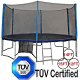 TÜV Approved Zupapa® 12 14 15 Ft Trampoline with Net Enclosure net + Safety Pad + Ladder + Mat Springs + Shoes Bag + Cover and T-hook Combination