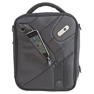 Powerbag Tablet Messenger Bag with Battery for Charging Tablets, Smartphones and eReaders, Black (RFAP-0088F)