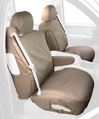 Covercraft Custom-Fit Front Bucket Seatsaver Seat Covers - Polycotton Fabric, Taupe front-51262