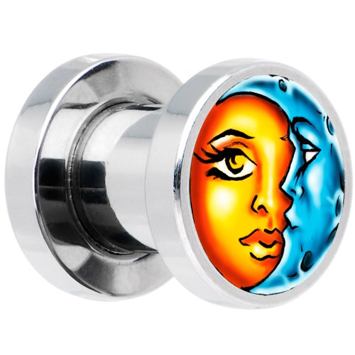 2 Gauge Steel Celestial Sun and Moon Screw Fit Plug