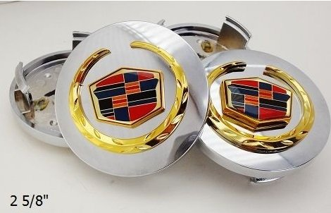 CADILLAC CTS STS DEVILLE DTS XTS XLR ATS CHROME CENTER CAPS WITH GOLD EMBLEMS 2 5/8TH