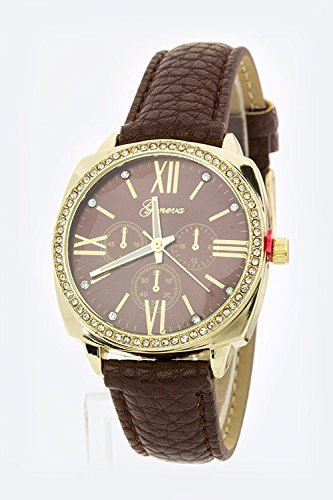 Karmas Canvas Grain Leather Strap Fashion Watch (Brown)
