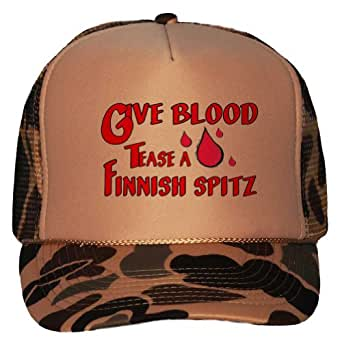 Amazon.com: Give Blood Tease a Finnish Spitz Adult Brown Camo Mesh