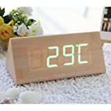 EiioX Fashion Bamboo Triangle Green LED Wooden Imitation Alarm Clock Digital Wood Alarm Clock Desktop- Time Temperature Date - Sound Control - Latest Generation