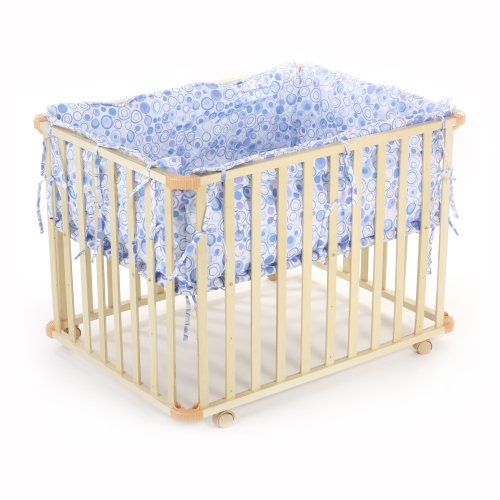 BABY VIVO WOODEN PLAYPEN SQUARE 100x75 CM WITH REMOVABLE WASHABLE INLAY BLUE