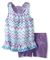 Young Hearts Girls 2-6X 2 Piece Printed Woven Blouse And Short, Purple, 3T