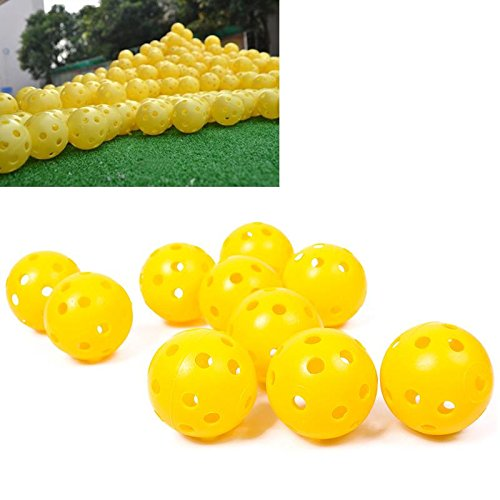 10Pcs/Pack Light Airflow Hollow Perforated Plastic Golf Practice Training Balls Yellow Dia. 4cm