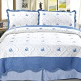 Bedford Home Brianna Embroidered 3-Piece Quilt Set, Full/Queen
