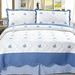 Lavish Home Brianna Embroidered 2-Piece Quilt Set Twin