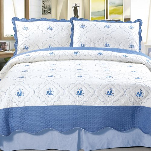 Lavish Home Brianna Embroidered 2-Piece Quilt Set, Twin