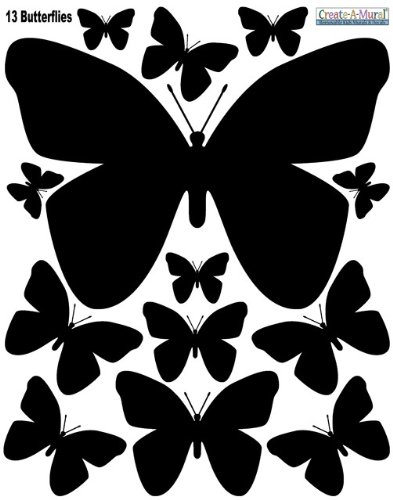 Butterfly Wall Decals- Jet Black Self-Adhesive Butterfly Appliques' - 1