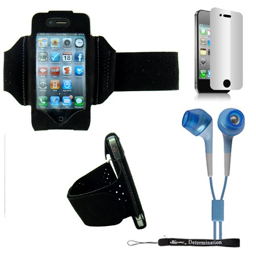 Extreme Sports Exercise Stretchy Black Armband With 8 Secure Adjustable Sizes From 11 Inches Up To 19 For Apple Iphone 4 , 4Th Generation, 4Th Gen Compatible With 16Gb / 32Gb - Hd Print + Includes A Ebigvalue (Tm) Determination Hand Strap+ Includes A Priv