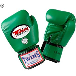 Image of TWINS SPECIAL BOXING GLOVES GREEN COLOR PREMIUM LEATHER W/ VELCRO