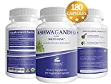 Organic Ashwagandha 180 Veggie Caps. With Bioperine Pepper Extract for Increased Absorption. Promotes Reduced Stress and Energy Boost. All Natural Adaptogen Benefits from Root Powder.