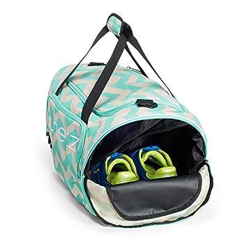 Runetz - Chevron Hot TEAL Blue Gym Bag Athletic Sport Shoulder Bag for Men & Women Duffel 20-inch Large - Chevron Teal 2