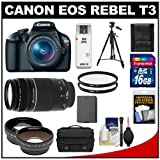 Canon EOS Rebel T3 Digital SLR Camera Body & EF-S 18-55mm IS II Lens with 75-300mm III Lens + 16GB Card + .45x Wide Angle & 2x Telephoto Lenses + Battery + (2) Filters + Tripod + Accessory Kit
