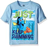 Disney Boys Toddler Finding Dory Just Keep Swimming Dory and Nemo Short Sleeve T-Shirt, Sky Blue, 2T