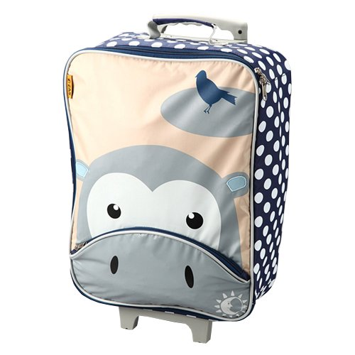 D and N Kids Girls Boys Hippo Wheeled Rolling Front Zipper Suitcase