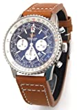 22mm Double Thickness EIEI Aviator Hand Made Brown Calf Leather watch strap Fits Breitling Navitimer