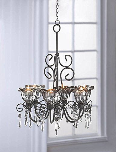 Midnight Blooms Hanging Candle Chandelier With Dangling Crystals
