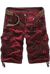 Mrignt Mens Casual Slim Fit Cargo Camouflage Shorts(No Belt)