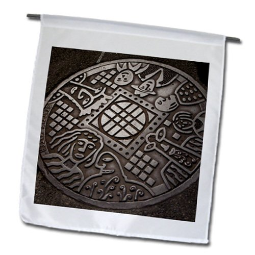 Danita Delimont - Seattle - USA, Washington, Seattle, Manhole cover - US48 JME0537 - John and Lisa Merrill - 12 x 18 inch Garden Flag (fl_147927_1)