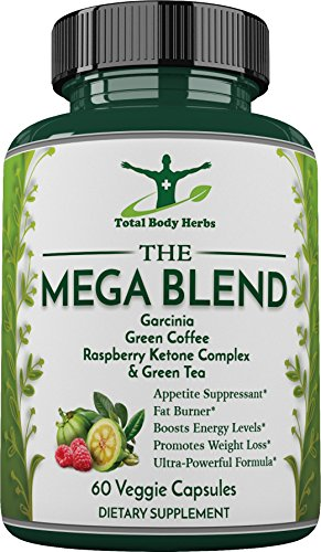 Mega Blend - Garcinia Cambogia, Raspberry Ketone, Green Coffee Bean, Green Tea Extract (Caffeine) - Extremely Powerful, Supports Weight Loss and Fat Burning - Sixty (60) 1300mg Capsules
