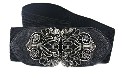 Metal Vintage Carving Flower Buckle Leather Elastic Waist Belt Fashion Wide Belts for Women Black