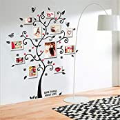 Chic Black Family Photo Frame Tree Butterfly Flower Heart Mural Wall Sticker(Photo Frames Not Included)