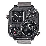 【 オウルム 】Oulm 腕時計 メンズシミュレーションロシア軍ウォッチ - スクエアダイヤル スチールの時計 ブラックバンド