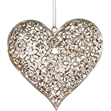 Silver Daisy Heart Decoration - Shabby Chic Vintage Style