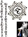 Novoskins Powave Professional Artist Temporary Tattoo hand painted waterproof transfer 'The Script' and 'Buddhist Aum Symbol' design combo pack