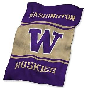 Washington Huskies NCAA UltraSoft Fleece Throw Blanket by Logo Chair