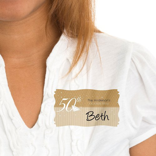 50Th Anniversary - Personalized Wedding Anniversary Name Tag Stickers - 8 Ct front-721532