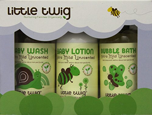 Little Twig Gentle Care All Natural, Hypoallergenic, Extra Mild 4 Piece Gift Set with Washcloth for Sensitive Skin, Unscented, 8.5 Bottles - 1